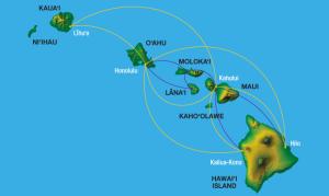 Hawaiian route map interisland --HA